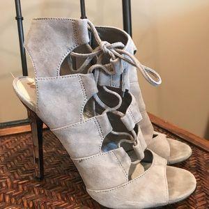 Sam Edelman 9 Grey Suede Lace-up Mirror Heels